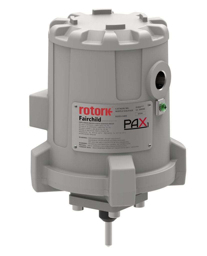 PAX1 ActuatorThe PAX1 is ideal when precise position control is required, and it has an optional analog feedback that transmits current position to the operator. Adjustable motor speeds, customer set position limits and alarms are standard features.